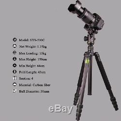 Professional SYS500C Carbon Fiber DSLR Camera Tripod Monopod BallHead Heavyduty