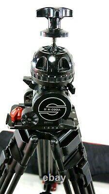 Sachtler VIDEO 18 II HEAD CF CARBON Tripod MIDSPR 7007 TBAR PL BAG SERVICED 40Lb