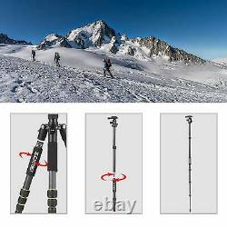 ZOMEi Q666C Pro Carbon Fiber Tripod Monopod Travel Lightweight For DSLR Camera